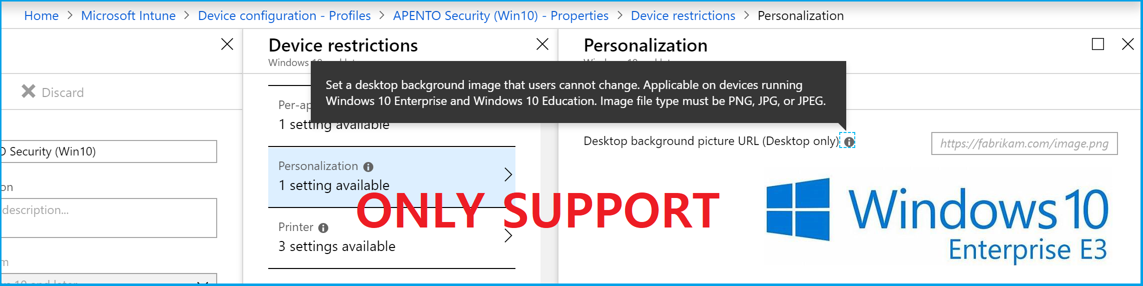 Apply corporate background to Windows 10 Pro with Microsoft Intune